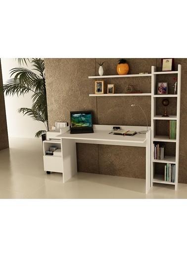 Sanal Mobilya Sirius Dolaplı Kitaplıklı 2 Raflı Çalışma Masası 140-Gk-7-3B Beyaz